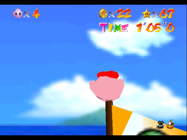 Super Mario 64 - Kirby Edition - GREAT HOW IN THE HELL DO I GET DOWN IM STUCK - User Screenshot